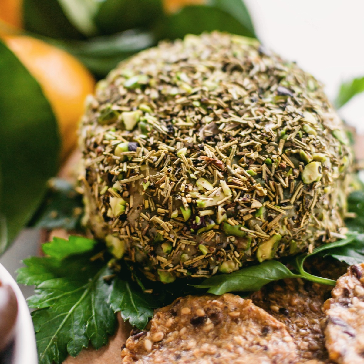 Herb & Pistachio Crusted Vegan Blue Cheese