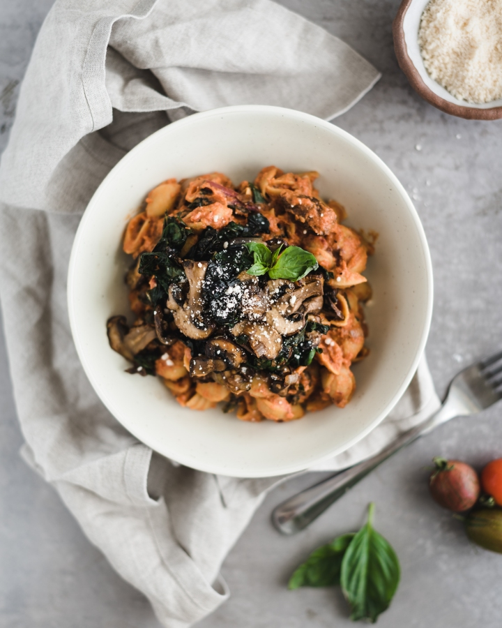 Mushroom & Swiss Chard Pasta with a Creamy Vegan Rose Sauce