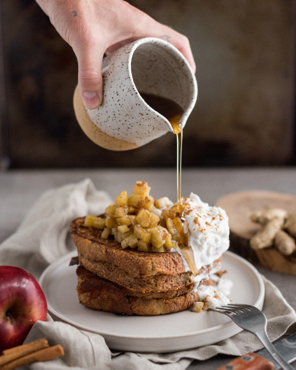 Vegan Apple Pie Stuffed French Toast